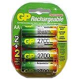 GP Recyko AA NiMH Pre-Charged Rechargable 1.2v 2700mAh 2 Batteries + 2 Free Total of 4 Batteries (Tamaño: 2700mAh)