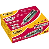 BIC Marking Onyx 1482 Bullet Tip Permanent Marker (Box of 12) - Red