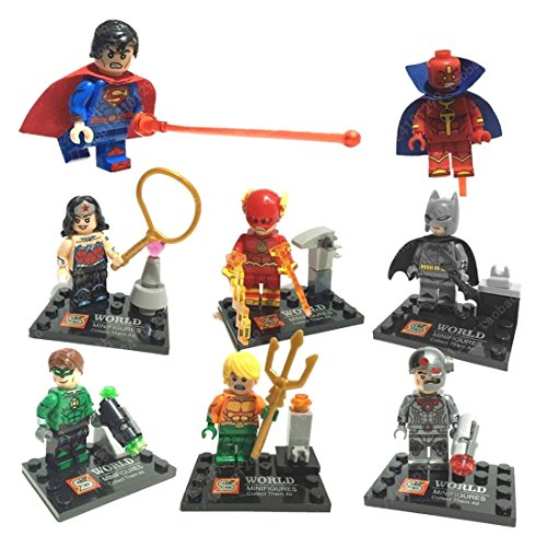 Super Heroes-8 Set MiniFigures Building Toys Cyborg Flash Superman Blocks Toy CE (Daft Punk Without Costumes)