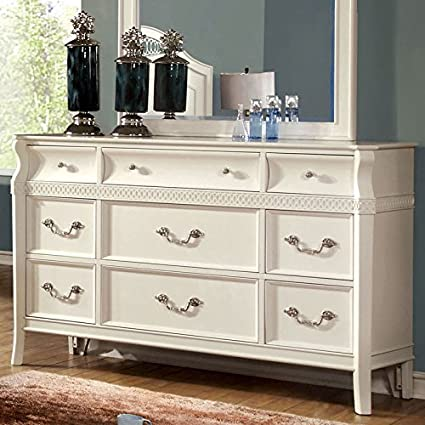Elvas Transitional Style White Finish Bedroom Dresser