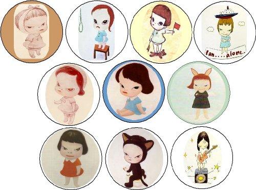 Oh! My God! I Miss You: 30 Postcards »». Set of 10 Yoshitomo Nara Pinback