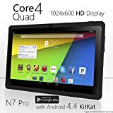 NeuTab® N7 Pro 7'' Quad Core Google Android 4.4 KitKat Tablet PC, 1024X600 Display, Bluetooth, HD Dual Camera, Google Play Pre-loaded, 3D-Game Supported (Black)