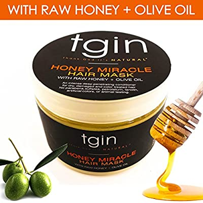 Deep Conditioner for Natural Hair - tgin Honey Miracle Hair Mask with Raw Honey + Olive Oil; Great treatment for any hair texture - Moisturizes and Repairs Dry, Damaged, or Color Treated Hair, 12oz