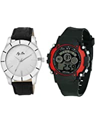 Pappi Boss Pack Of 2 Sober White Dial Analog Wrist Watch & Black-Red Digital Sports Wrist Watch For Boys, Men