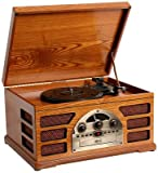 Wooden Retro Turntable 3 Speed AM/FM CD and Tape Player