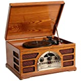 Wooden Retro Turntable 3 Speed AM/FM CD and Tape Playerby Zyon