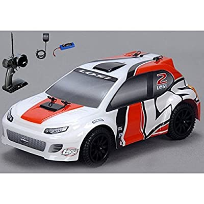 (Ship from USA) Losi 1/24 4WD Rally Car RTR Orange/White w/ Radio,Battery & Charger LOSB0241T2