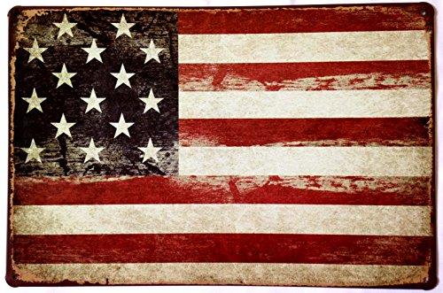 """American Flag Logo Retro Vintage Tin Sign 12"""" X 8"""""""