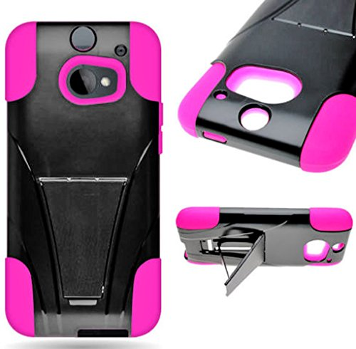 Mylife Shimmering Black + Deep Pink {Tough Design} Two Piece Neo Hybrid (Shockproof Kickstand) Case For The All-New Htc One M8 Android Smartphone - Aka, 2Nd Gen Htc One (External Hard Fit Armor With Built In Kick Stand + Internal Soft Silicone Rubberized