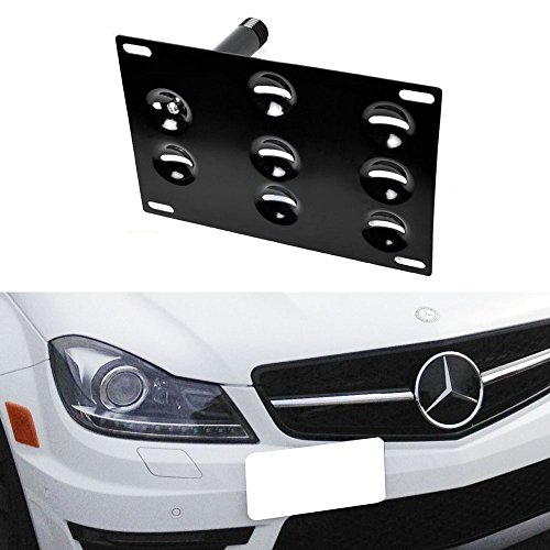 iJDMTOY Front Bumper Tow Hole Adapter License Plate Mounting Bracket For Mercedes W204 C-Class W212 E-Class W221 S-Class W166 ML X204 GLK, etc (Mercedes Front License Bracket compare prices)