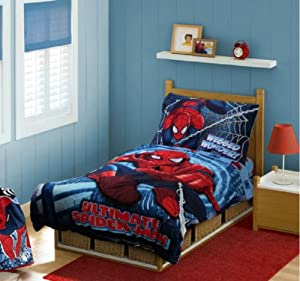 Spiderman 4 in 1 Junior Bed Set, padded Quilt Cover with matching 3pc Sheet Set