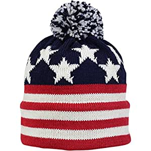 Vermont Originals - Old Glory, American Made Wool Flag Pom Beanie, Red