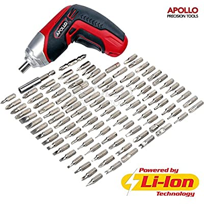 Apollo 3.6V Cordless 1300 mAh Lithium-Ion Screwdriver & 102 Piece Tamperproof Mixed Screwdriver Bit Set in Aluminum Storage Box. All the SAE, Metric, Torq, Phillips, Slotted, Pozidriv, Clutch, IT, Metric, Spline, Tri-wing, Square, Spanner, Hex and Triangl