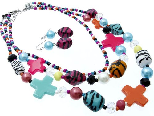 Funky Rainbow Colorful Zebra and Beads Cross Fashion Necklace