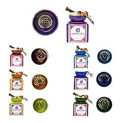 Mudra Crafts Tibetan Himalayan 7 Chakra Sound Healing Singing Bowl Gift Set by Mandala Crafts
