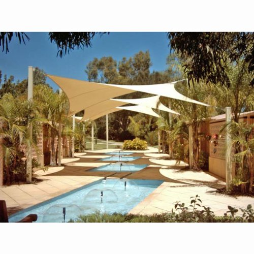 Phoenix Oversized 18.5' Square Sun Shade Sail Complete Professional Kit Desert Sand Color