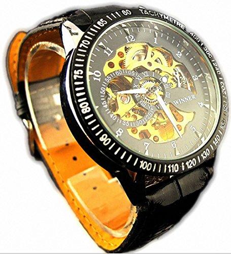 COM-SHOT 高級 アナログ 腕時計 ベルト デザイン オシャレ ギフト プレゼント アンティーク ギア スチーム パンク MI-NBW0ME6991-BL1