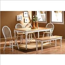 Hot Sale Boraam 86369 6-Piece Farmhouse Dining Room Set, White/Natural