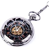 ShoppeWatch PWMSK19 Skeleton Black Dial Pocket Watch