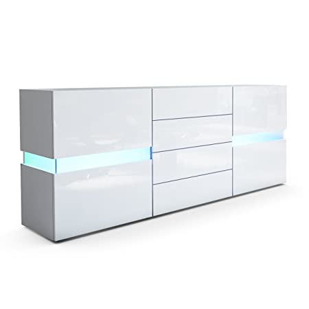 Sideboard Chest of Drawers Flow, Carcass in White matt / Front in White High Gloss with LED Lights