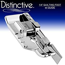 Distinctive 1-4 (Quarter Inch) Quilting Sewing Machine Presser Foot with Edge Guide - Fits All Low Shank Snap-On Singer*, Brother, Babylock, Euro-Pro, Janome, Kenmore, White, Juki, New Home, Simplicity, Elna and More!