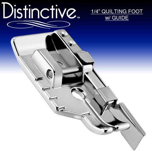 Distinctive 1-4 (Quarter Inch) Quilting Sewing Machine Presser Foot with Edge Guide - Fits All Low Shank Snap-On Singer*, Brother, Babylock, Husqvarna Viking (Husky Series), Euro-Pro, White, Bernina (Bernette Series), New Home, Elna and More!