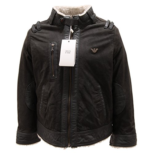 5889P giubbotto pelle verde bimbo ARMANI JUNIOR giacche leather jackets kids [4 YEARS]