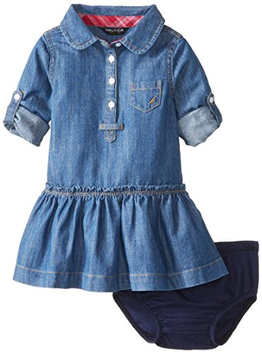 Nautica Baby-Girls Infant Roll Sleeve Dress, Medium Chambray, 12 Months
