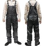 (革パンツ)レザーパンツ・オーバーオールタイプMLJS001/ツナギ/皮パンツ/本革 メンズ 革パン (3L, ブラック)