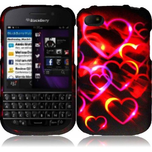 Cell Accessories For Less (Tm) For Blackberry Q10 Rubberized Design Cover Case - Colorful Hearts - By Thetargetbuys *Free Shipping*