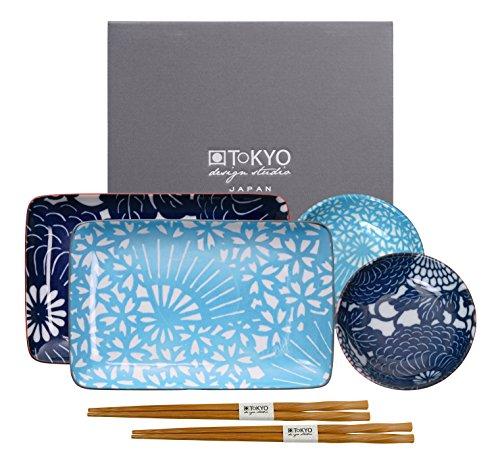 Tokyo Design Studio Shiki piatto con bacchette fk-4451/AB, Porcellana, Multicolore, 21x 13,5cm