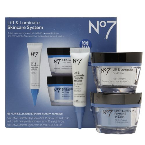 Boots No7 Lift and Luminate 3 Piece Skincare System Includes Eye Cream Day Cream and Night Cream
