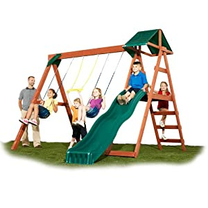 Amazoncom glider swing outdoor playset swingset 2015 for Small wooden swing sets