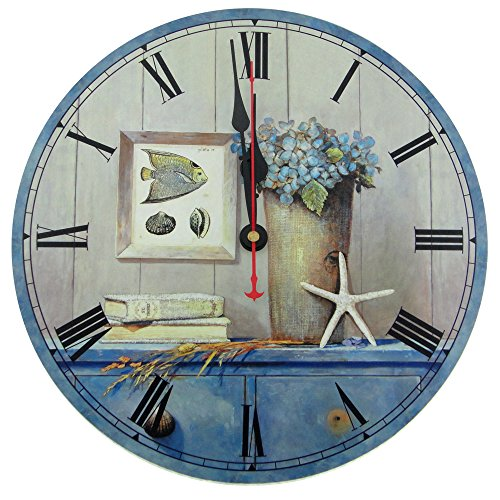 Usmile 12 Vintage Starfish Ocean style Wooden Wall Clocks Decorative wall clocks Retro wall clocks large wall clocks