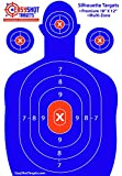 """50% OFF - Highest Quality Silhouette Targets For Shooting at the Lowest Price - 150 FREE Repair Stickers - HIGH-VISIBILITY Blue, Bright and Colorful for EASY TO SEE Gun Shot Placement - Size 18"""" X 12"""""""