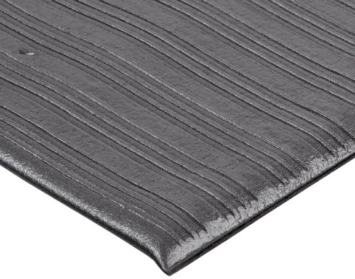 Crown FL3660BK Ribbed Vinyl Anti-Fatigue Mat, 36 x 60, Black