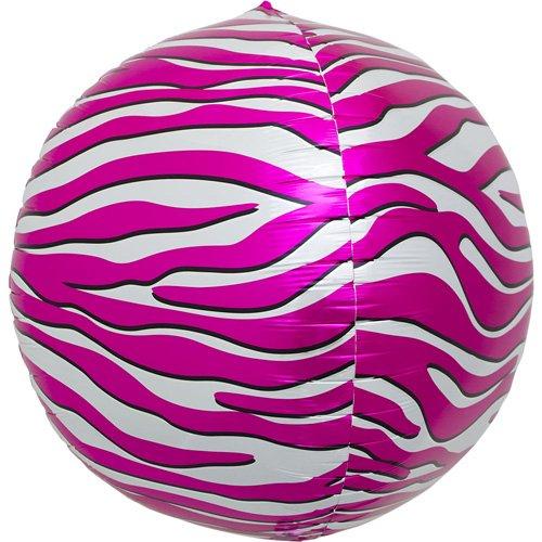 Pink Zebra Sphere Helium Foil Balloon - 17 inch