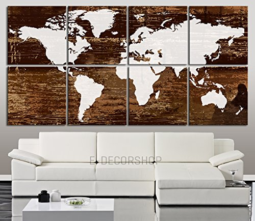 Large wall art canvas world map white world map on dark brown world map canvas prints are the perfect treat for any travel enthusiast or a wonderful gift for a friend or loved one suitable both for home and office gumiabroncs Choice Image