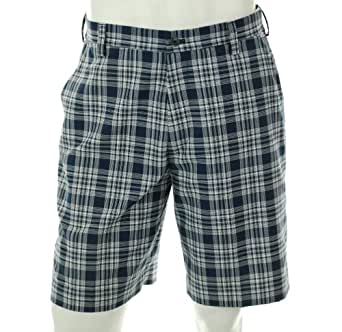 Izod Golf Twill Plaids (Small) Chrome Blue (navy and white) Flat Front Walking Shorts, Size 30
