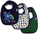 Gerber Baby-Boys  3 Pack Interlock Dribbler Bib Football, Blue, One Size
