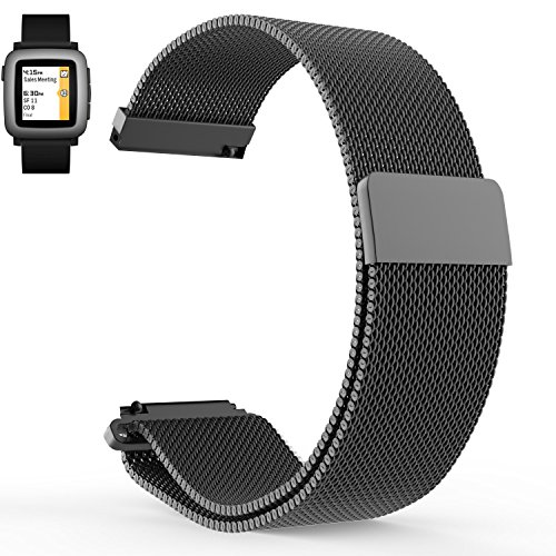 VICARA 22mm Pebble Time 2 Bande bracelets de montres en Acier inoxydable Milanais / Milanese, avec le Fermoir Magnétique, Band, Strap, Bracelet de montre Stainless Steel Adaptateur pour l'heure Pebble 2 / Pebble Time / Pebble Time Steel (Gold)