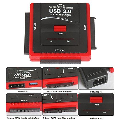Sidiou Group USB2.0 3.0 IDE a SATA a tre utilizzato HDD Hard Disk Drive Adapter Cable Converter Un OTB backup della chiave (USB 3.0 a IDE SATA)