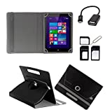 ECellStreet TM PU Leather Rotating 360° Flip Case Cover With Tablet Stand For Vox VOX 3G V102 - Black + Free OTG...