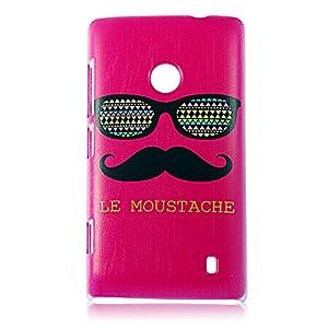 BestCool PC Matériel Lunettes et Moustache Série de Protection Housse de Painted Skin pour Nokia Lumia 520 N520 - Rose Rouge