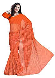 GiftPiper Pure Georgette Mothra Saree- Orange