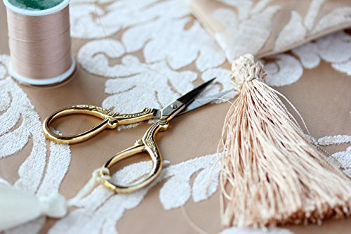 Gold Embroidery Scissors With Organza Gift Bag - for Cross Stitch Sewing Needlepoint Crafts- Lovely for Office Desk or Stationary Tasks - European Gold 2