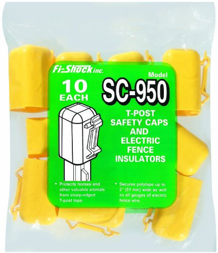 Fi-Shock Sc-950 Yellow T-Post Safety Cap And Insulators, 10-Per Bag