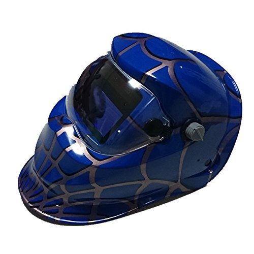Generic Auto Darkening Welding Helmet Mask Solar Power Spiderman Color Blue