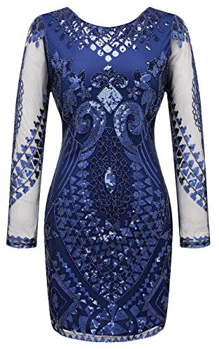 Izacu Flocc® Women's 1920s Gatsby Sequin Art Deco Scalloped Flapper Dress (S, blue)