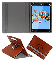 ACM ROTATING 360° LEATHER FLIP CASE FOR DIGIFLIP PRO XT811 TABLET STAND COVER HOLDER BROWN
